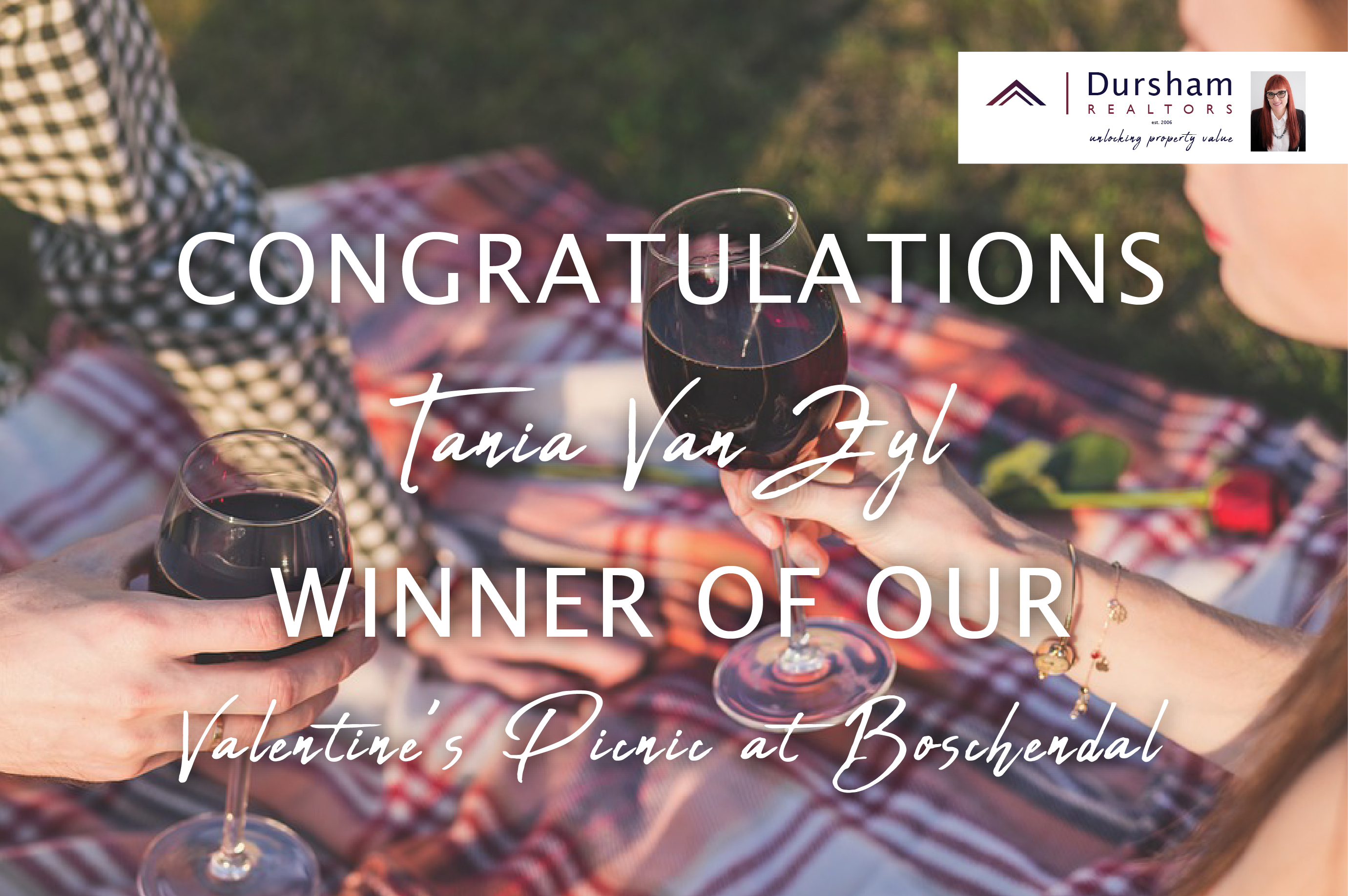 Tania van Zyl is the winner of our Valetine's Picnic at Boschendal.